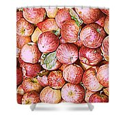 Red Apples With Green Leaf Shower Curtain
