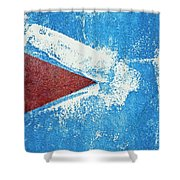 Red Arrow Painted On Blue Wall Shower Curtain
