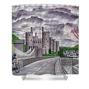 Red Arrows At 1000 Feet Over Conway Castle Shower Curtain