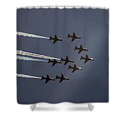 Red Arrows Flying Into The Sun Shower Curtain
