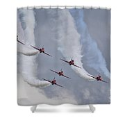 Red Arrows Roll Left Shower Curtain