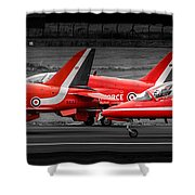 Red Arrows Threesome Take-off Shower Curtain