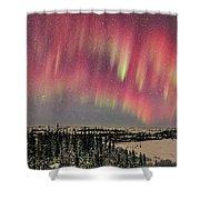 Red Aurora Panorama 1 Feb 12, 2016 Shower Curtain
