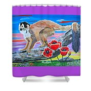 Red Backed Squirrel Monkey Base On A Photo By Larry Linton Shower Curtain