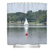 Red Ball Sailing Shower Curtain