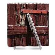 Red Barn Abstract Shower Curtain by Rebecca Sherman