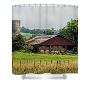 Red Barn And Bales Of Hay Shower Curtain