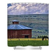 Red Barn And Barbed Wire Shower Curtain