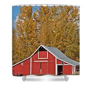 Red Barn And Fall Colors Shower Curtain