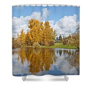 Red Barn And Fall Colors Reflected In A Pond Shower Curtain