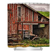 Red Barn And Truck In The Palouse Shower Curtain