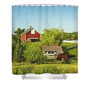 Red Barn And Water Mill On Farm In Maine Shower Curtain