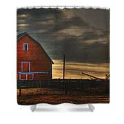 Red Barn At Dawn Shower Curtain