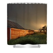 Red Barn At Sundown Shower Curtain