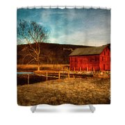 Red Barn At Twilight Shower Curtain