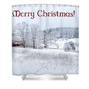 Red Barn Christmas Card Shower Curtain