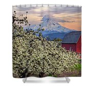 Red Barn In Hood River Pear Orchard Shower Curtain