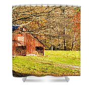 Red Barn In Late Fall Shower Curtain