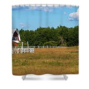 Red Barn In Meadow, Knowlton, Quebec Shower Curtain
