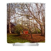 Red Barn In The Smokies Shower Curtain