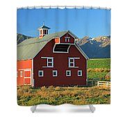 Dn5939-red Barn In The Wallowas Shower Curtain