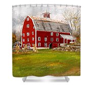 Red Barn In Woodstock Vermont- Red Barn Art Shower Curtain