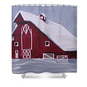 Red Barn Shower Curtain by Kathy Weidner