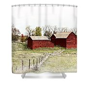 Red Barn Shower Curtain by Marcia Colelli
