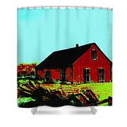 Red Barn   Number 5 Shower Curtain