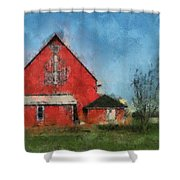 Red Barn Rear View Photo Art 03 Shower Curtain