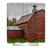 Red Barn With Fall Colors Shower Curtain