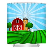 Red Barn With Grain Silo On Green Pasture Illustration Shower Curtain