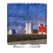 Red Barn With Silos Photo Art 02 Shower Curtain