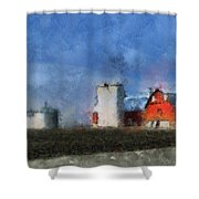 Red Barn With Silos Photo Art 03 Shower Curtain