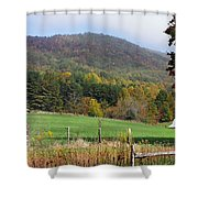 Red Barns And Mountains Shower Curtain