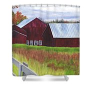Red Barns At Freehold Shower Curtain