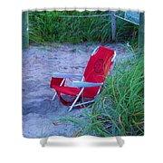 Red Beach Chair Shower Curtain