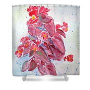 Red Begonias Shower Curtain