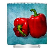 Red Bell Peppers Shower Curtain