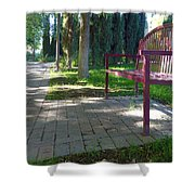 Red Bench Shower Curtain