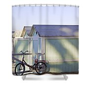 Red Bicycle At Mondello Beach Shower Curtain