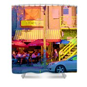 Red Bistro Umbrellas Cafe Cote Soleil Rue St Denis Yellow Staircase Montreal Scenes Carole Spandau Shower Curtain