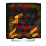 Red Black Blocks Abstract Shower Curtain