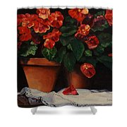 Red Bloom In Terracotta Shower Curtain