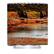 Red Boat At Low Tide Triptych Shower Curtain