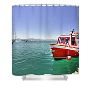 Red Boat At Nafplion Harbour Shower Curtain