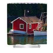 Red Boat House Shower Curtain