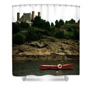 Red Boat In Newport Shower Curtain