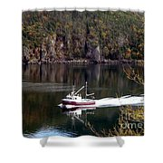 Red Boat Returning From Sea Shower Curtain