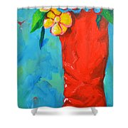 Red Boot With Flowers Shower Curtain